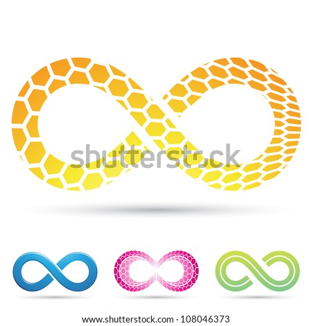 Vector illustration of Infinity Symbols with Honeycomb pattern - stock vector