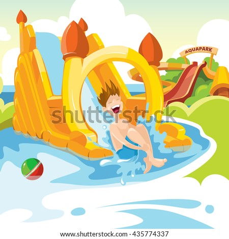 Vector illustration of inflatable castles and children water hills on playground. Set of web banners with picture of inflatable castles. - stock vector