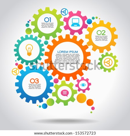 Vector Illustration of infographic design template with gear and icons. File is saved in AI10 EPS version. This illustration contains a transparency  - stock vector