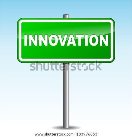Vector illustration of innovation signpost on sky background - stock vector