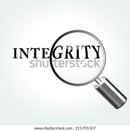 Vector illustration of integrity abstract concept with magnifying - stock vector