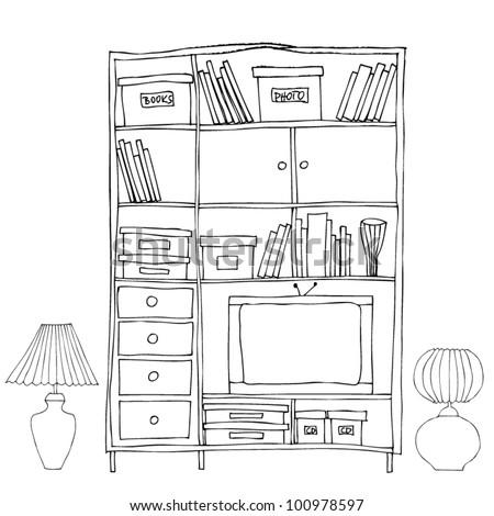 vector illustration of interior, bookshelf - stock vector