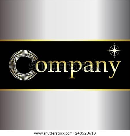 Vector illustration of International company. Gold, silver on black. - stock vector