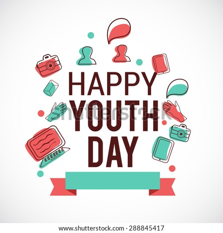 Vector illustration of international Youth Day background. - stock vector