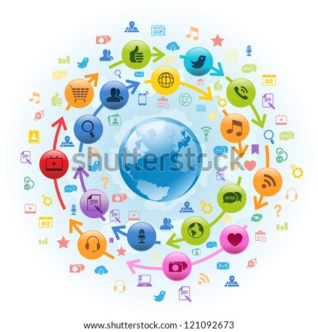 Vector Illustration of internet globe with social media icons circling around. - stock vector