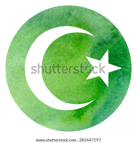 Vector illustration of Islamic symbol crescent and star on bright green circle watercolor background. - stock vector