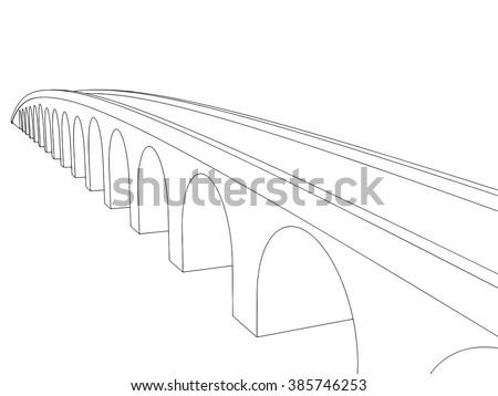 Vector illustration of isolated cartoon bridge on white background 8 - stock vector