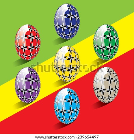 Vector illustration of isolated colorful easter eggs with abstract ornaments. - stock vector