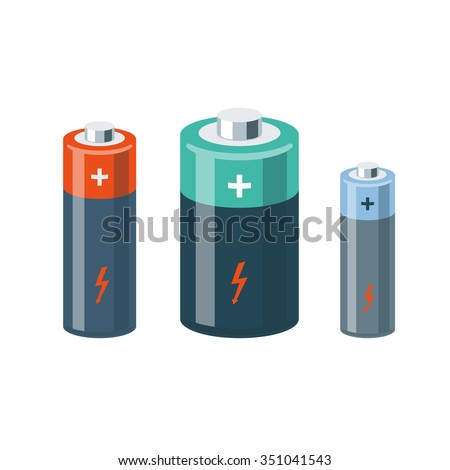Vector illustration of isolated cylinder batteries in cartoon style. - stock vector