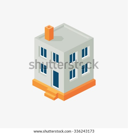 Vector illustration of isometric flat home - stock vector