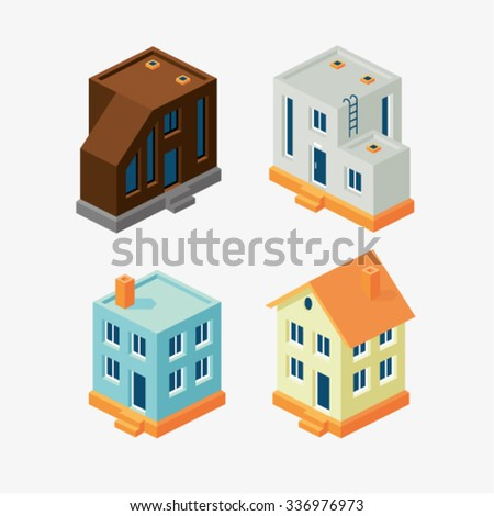 Vector illustration of isometric flat home set - stock vector