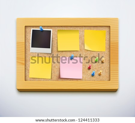 Vector illustration of items pinned to a cork bulletin board with wood frame, ready for your customized text or images. - stock vector