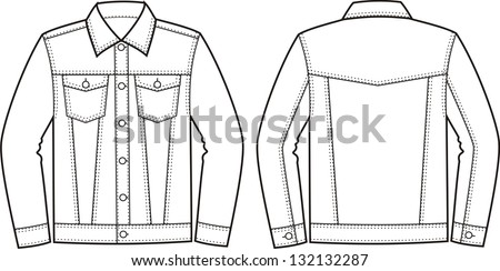 Vector illustration of jeans jacket. Front and back views - stock vector