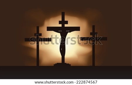 Vector illustration of Jesus Christ on the cross - stock vector