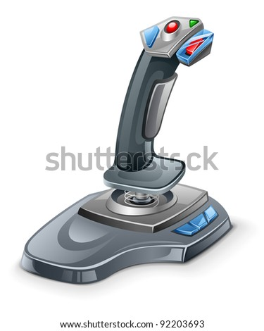 Vector illustration of joystick on white background - stock vector