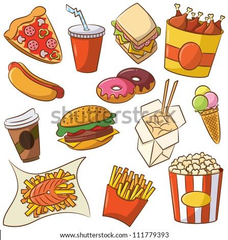Vector illustration of junk food set - stock vector