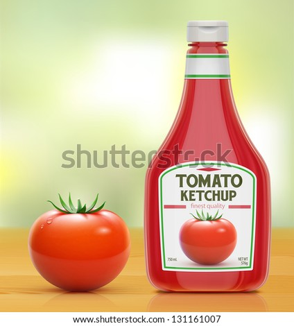 Vector illustration of ketchup bottle and fresh tomato on wooden kitchen table - stock vector