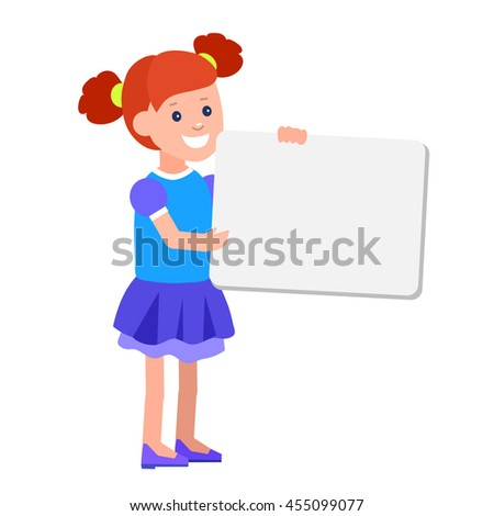 vector illustration of kid girl standing behind placard. Cheerful child holding white poster - stock vector