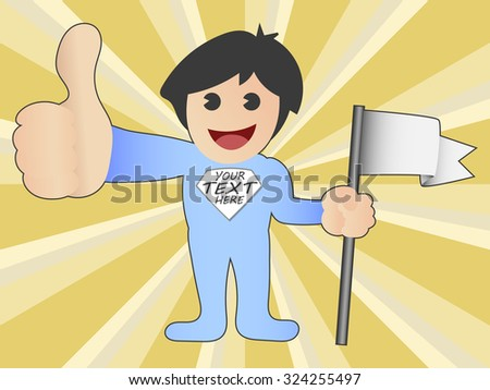 vector illustration of kid holding a flag and thumb-up - stock vector
