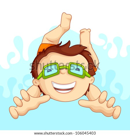 vector illustration of kid in swimming pool - stock vector