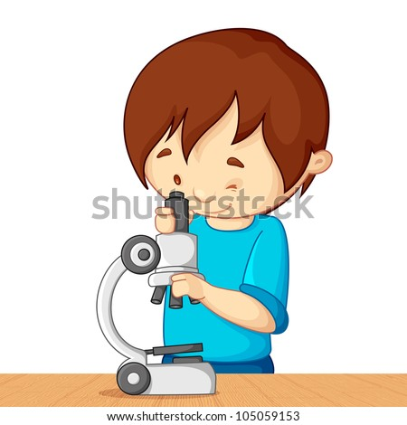 vector illustration of kid looking in microscope - stock vector