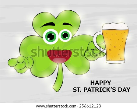 Vector illustration of kidish leaf holding of a beer mug for Happy St. Patrick's Day. - stock vector