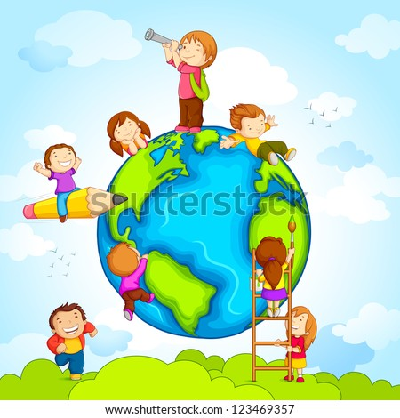 vector illustration of kids climbing around earth - stock vector