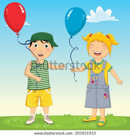 Vector Illustration Of Kids Keeping Balloons - stock vector