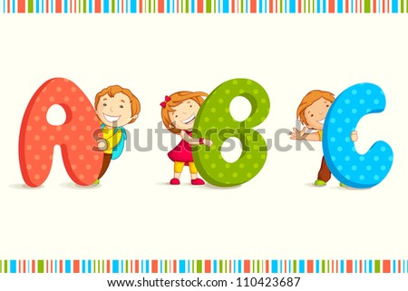 vector illustration of kids peeping behing ABC - stock vector