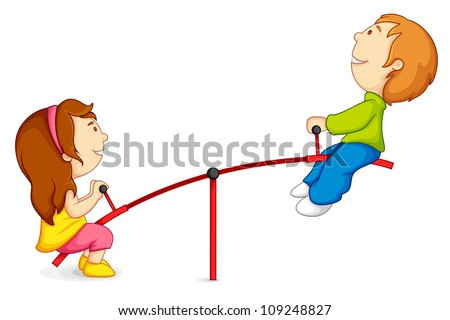vector illustration of kids riding on seesaw - stock vector