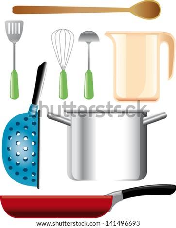 vector illustration of kitchen accessories - stock vector