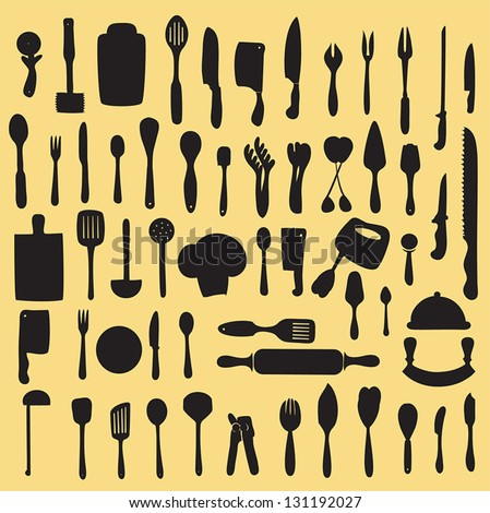 vector illustration of  kitchen utensil collection - stock vector