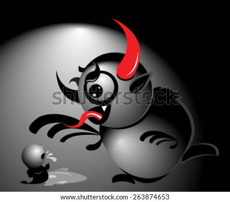 Vector illustration of Krampus style monster bullying a little kid. Concept about bullying or Christmas traditions. - stock vector