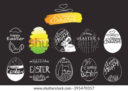 Vector illustration of label elements Easter phrases .Greeting card text templates with Easter eggs and bunny on grey background. Happy easter lettering modern calligraphy style. - stock vector