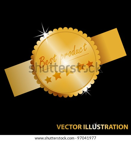 Vector illustration of label for web - Best product. Gold color. - stock vector