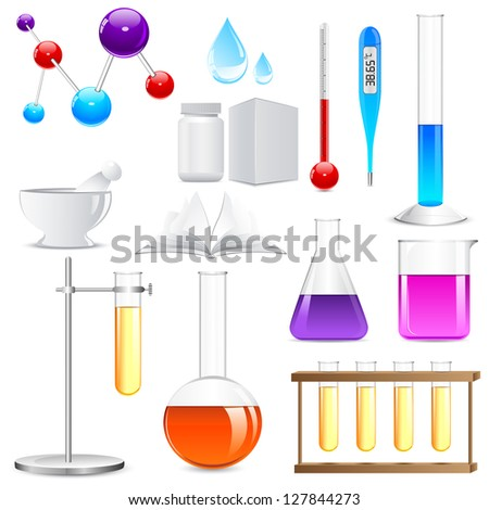 vector illustration of Laboratory glassware with colorful liquid - stock vector
