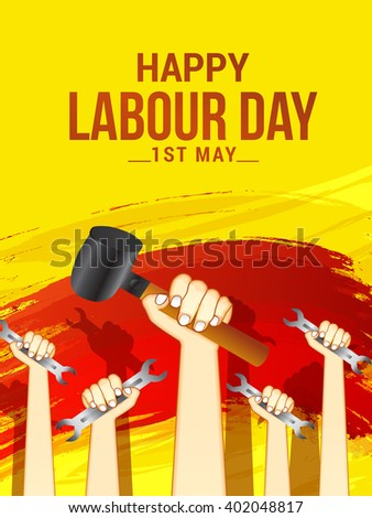 Vector illustration of Labour Day typography concept with man holding hammer and wrench. - stock vector