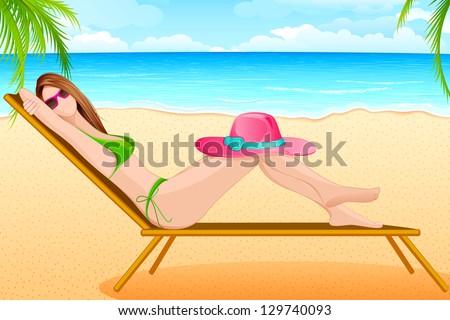 vector illustration of lady taking sunbath in beach chair - stock vector