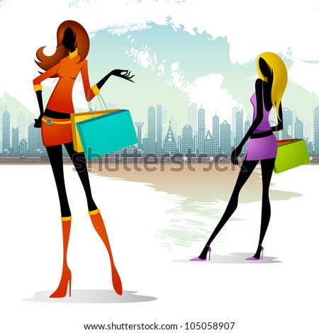 vector illustration of lady with shopping bag on cityscape backdrop - stock vector