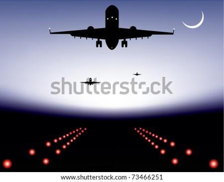vector illustration of landing plane over runway - stock vector