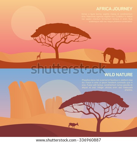 Vector illustration of landscape in savanna, morning sunrise with elephant, giraffe, gemsbok (gemsbuck).  Scenic view of meadow with nature trees, sky, mountains and wild nature - stock vector
