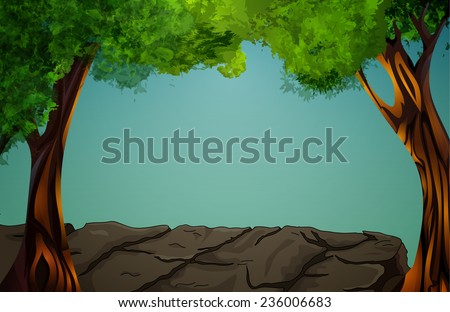 Vector illustration of landscape - tropical forest (jungle) - stock vector