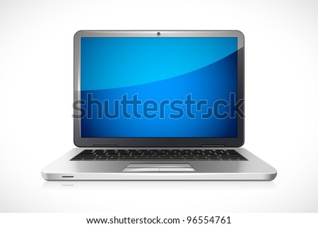 vector illustration of laptop against white background - stock vector