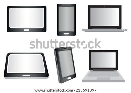 Vector illustration of laptop computer, touch screen laptop and smart phone icon isolated on white background - stock vector