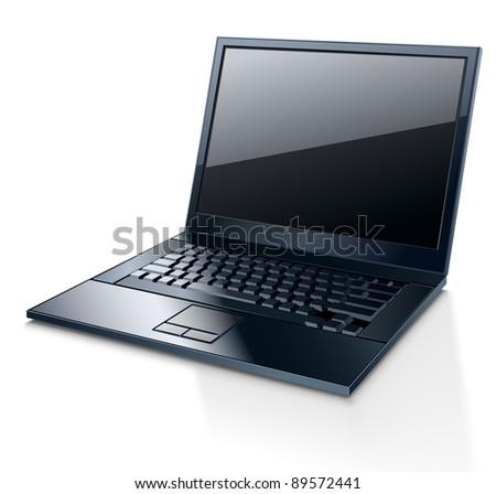 Vector illustration of laptop on white background - stock vector