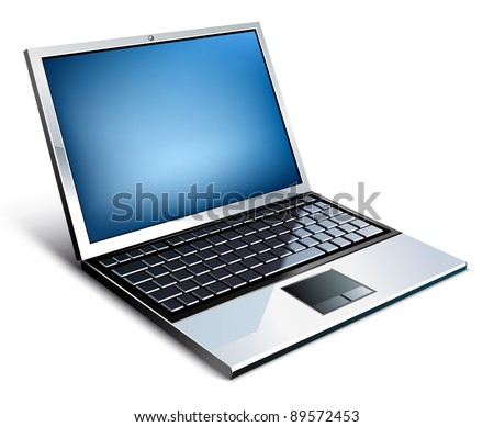 Vector illustration of laptop on white background - stock vector