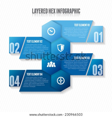 Vector illustration of layered hex infographic design element. - stock vector
