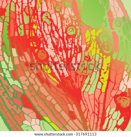 Vector illustration of leaf skeleton background. Pattern, backdrop, natural. Decomposing rotten leaf background. Green, red, yellow. - stock vector