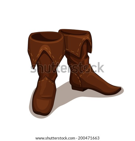 Vector illustration of leather boots isolated on white - stock vector