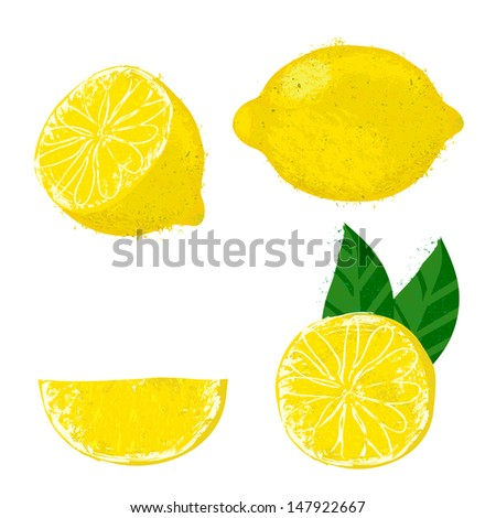 Vector illustration of lemon fruits. The drawing imitates dry brush watercolor technique. Set of four images for package design like juice boxes, caffeine free tea, jelly, candies, jam, meringue pie - stock vector